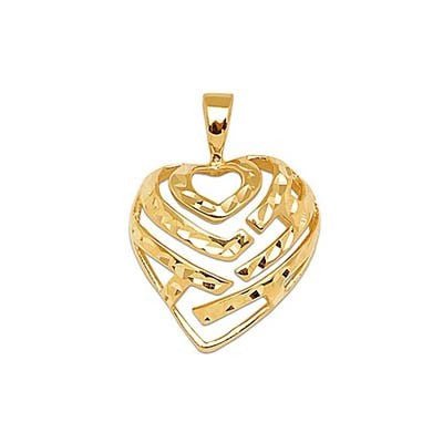 Maui Divers Jewelry Aloha Heart Pendant in 14K Yellow Gold - 18mm