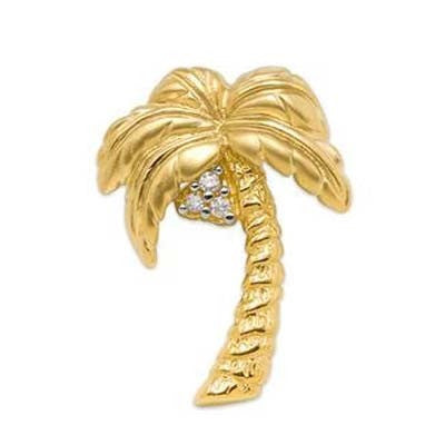 Maui Divers Jewelry Palm Tree Pendant with Diamonds in 14K Yellow Gold