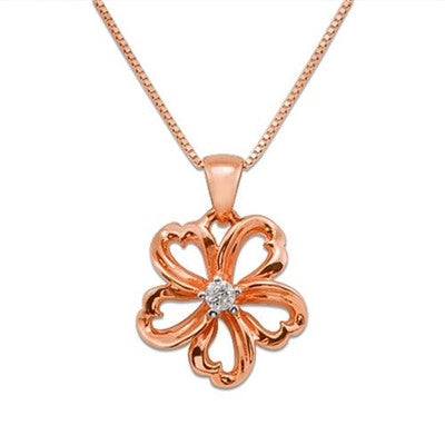 Maui Divers Jewelry Plumeria Necklace with Diamond in 14K Rose Gold - 14mm