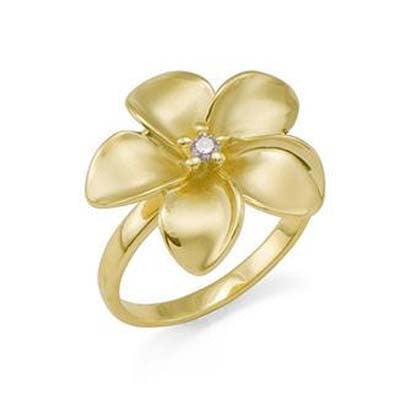 Maui Divers Jewelry Plumeria Ring with Diamond in 14K Yellow Gold 18mm