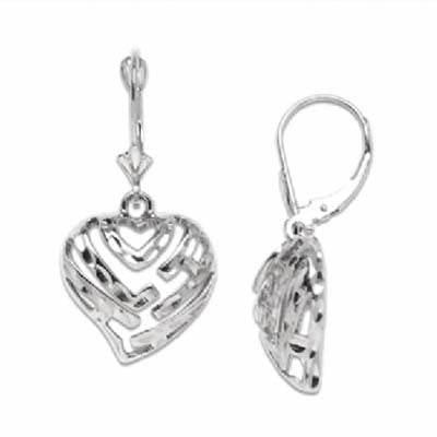 Maui Divers Jewelry Aloha Heart Earrings in 14K White Gold Extra Small