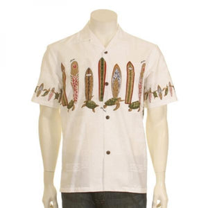Men's Surfboard Honu Chestband Aloha Shirt