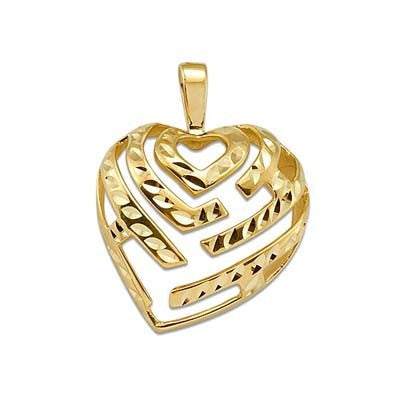Maui Divers Jewelry Aloha Heart Pendant in 14K Yellow Gold - 24mm