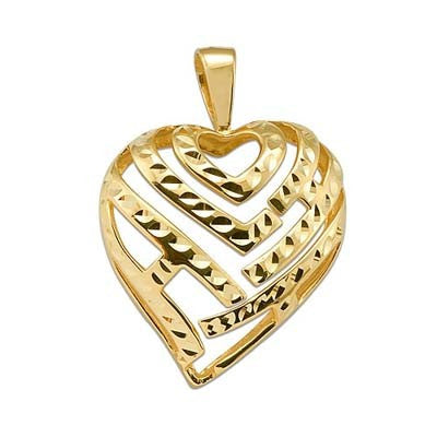 Maui Divers Jewelry Aloha Heart Pendant in 14K Yellow Gold - 30mm
