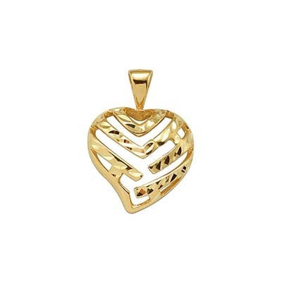 Maui Divers Jewelry Aloha Heart Pendant in 14K Yellow Gold - 15mm
