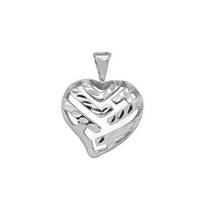 Maui Divers Jewelry Aloha Heart Pendant in 14K White Gold - 15mm