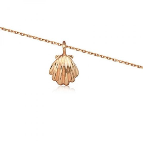 Rose Silver Clam Shell Anklet 10""