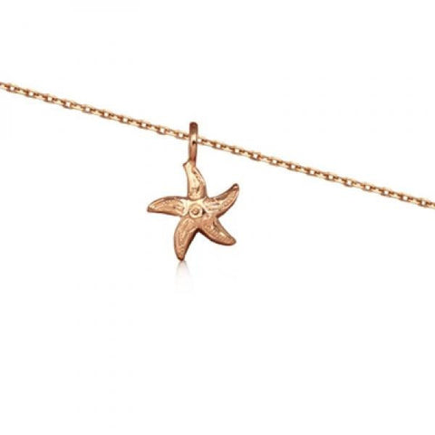 Rose Silver Starfish Necklace 16""