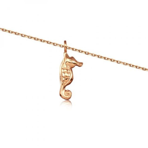 Rose Silver Seahorse Anklet 10""