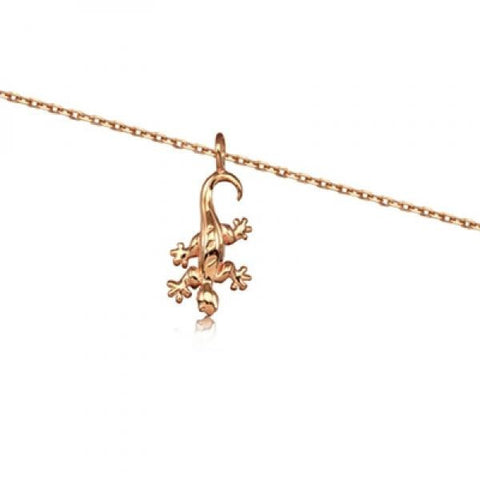 Rose Silver Gecko Necklace 16""