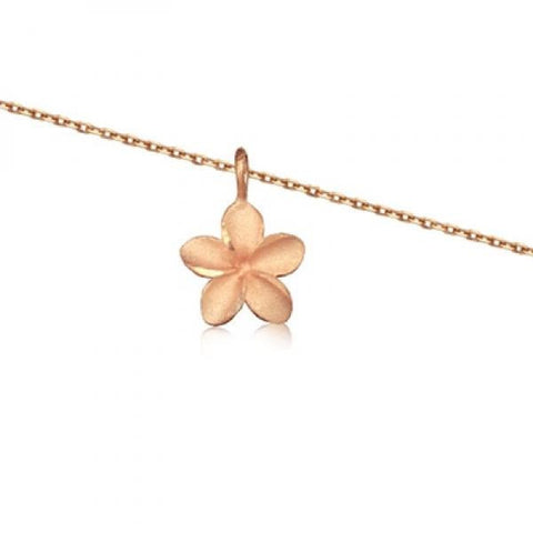 Rose Silver Plumeria Necklace 16""