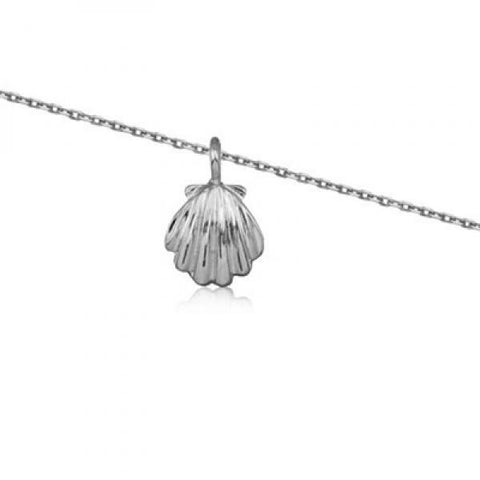Rhodium Silver Clam Shell Anklet 10""