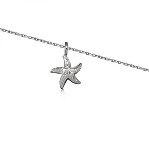 Rhodium Silver Starfish Necklace 16""