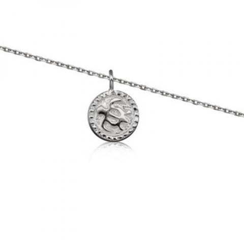Rhodium Silver Honu Plate Anklet 10""