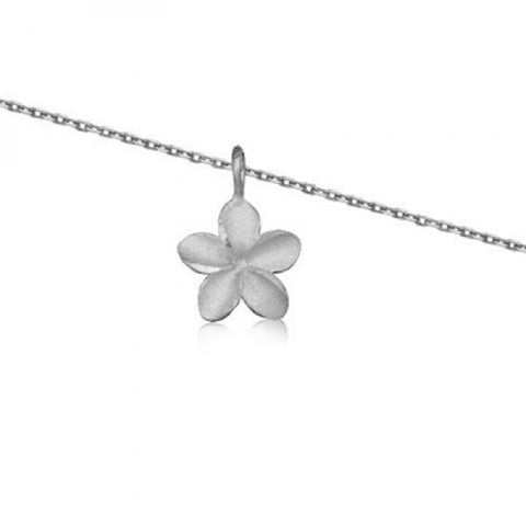 Rhodium Silver Plumeria Necklace 16""