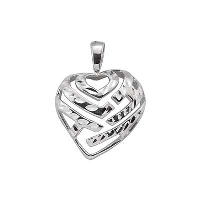 Maui Divers Jewelry Aloha Heart Pendant in 14K White Gold - 18mm