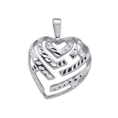 Maui Divers Jewelry Aloha Heart Pendant in 14K White Gold - 24mm
