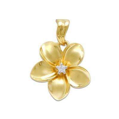 Maui Divers Jewelry Plumeria Pendant with Diamond in 14K Yellow Gold 18 mm