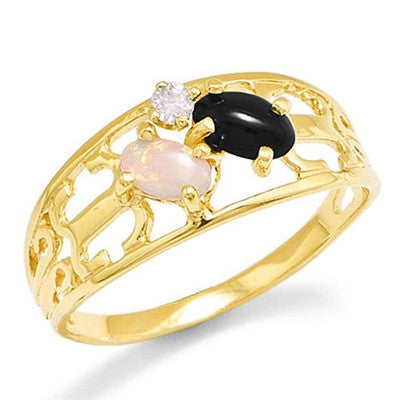 Maui Divers Jewelry Black Coral Ring with Opal in 14K Yellow Gold