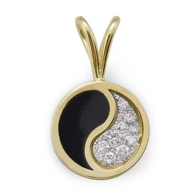 Maui Divers Jewelry Black Coral Yin Yang Pendant with Diamonds in 14K Yellow Gold - Large