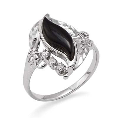 Maui Divers Jewelry Black Coral Paradise Ring with Diamonds in 14K White Gold