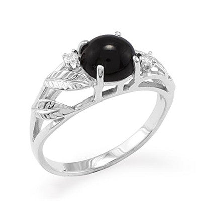Maui Divers Jewelry Black Coral Ring with Diamonds in 14K White Gold