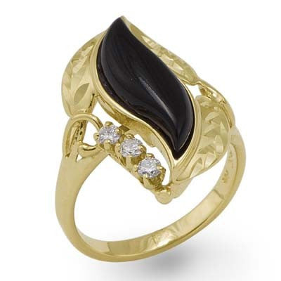 Maui Divers Jewelry Black Coral Paradise Ring with Diamonds in 14K Yellow Gold - Large