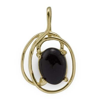 Maui Divers Jewelry Black Coral Pendant in 14K Yellow Gold