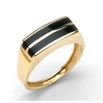 Maui Divers Jewelry Black Coral Ring in 14K Yellow Gold