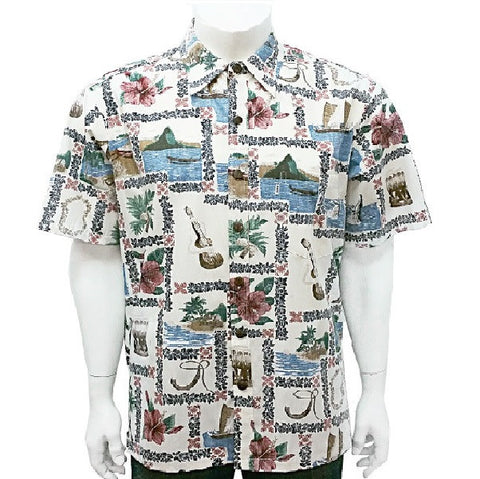Men's Square Lei Aloha Shirt ~ Cream