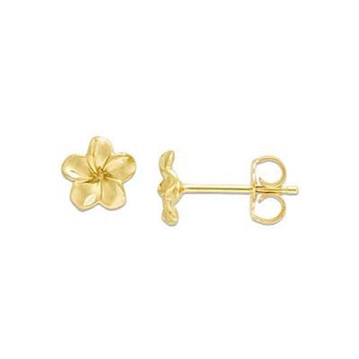 Maui Divers Jewelry Plumeria Earrings in 14K Yellow Gold - 7mm