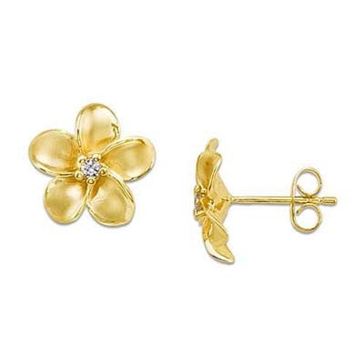 Maui Divers Jewelry Plumeria Earrings with Diamonds in 14K Yellow Gold - 13mm