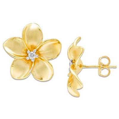 Maui Divers Jewelry Plumeria Earrings with Diamonds in 14K Yellow Gold - 18mm
