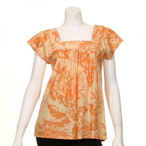 Holoku Square Neck Bias Blouse - Orange(117878_Slate.jpg)