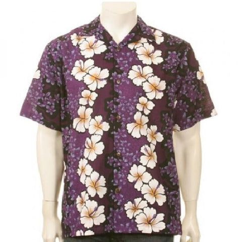 Purple Hibiscus Panel Hawaiian Shirt