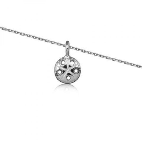 Rhodium Silver Sand Dollar Necklace 18""
