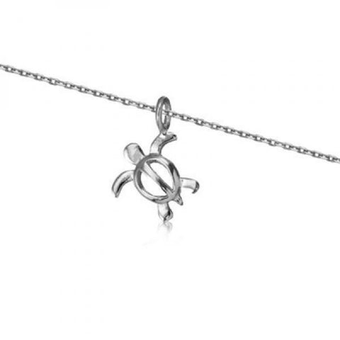 Rhodium Silver Honu Necklace 18""