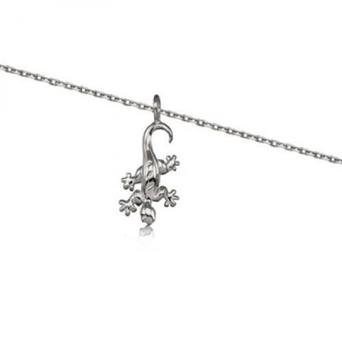 Rhodium Silver Gecko Necklace 18""