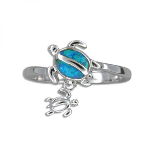 Sterling Silver Hawaiian Blue Opal Mother & Baby Honu Ring