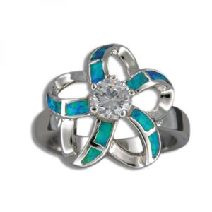 Sterling Silver Hawaiian Cut Out Blue Opal Plumeria Ring