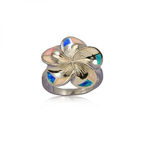 Sterling Silver Hawaiian Rainbow Opal Plumeria Ring