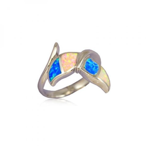 Sterling Silver Hawaiian Rainbow Opal Whale Tail Ring