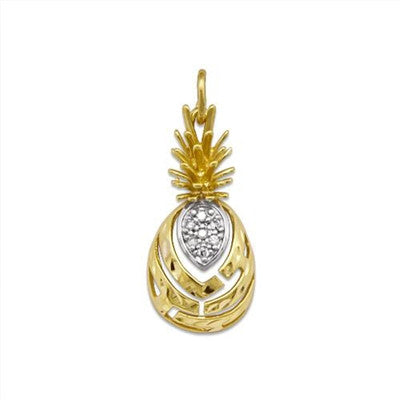 Maui Divers Jewelry Aloha Pineapple Pendant with Diamonds-14K Yelllow Gold~Medium