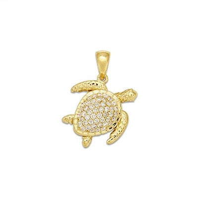 Maui Divers Jewelry Turtle Pendant with Diamonds-14K Yellow Gold~16mm