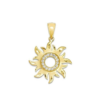 Maui Divers Jewelry Sun Pendant with Diamonds-14K Yellow Gold~17mm