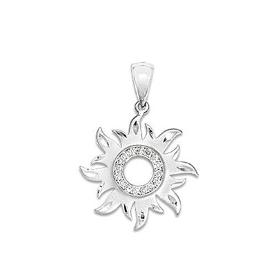 Maui Divers Jewelry Sun Pendant with Diamonds-14K White Gold~17mm