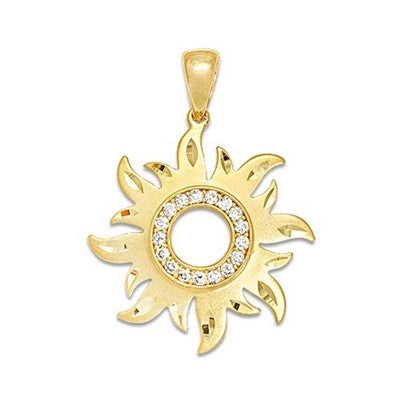 Maui Divers Jewelry Sun Pendant with Diamonds-14K Yellow Gold~24mm