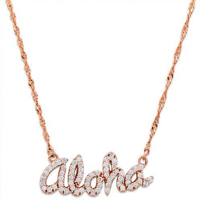 Maui Divers Jewelry Aloha Necklace with Diamonds-14K Rose Gold~Small