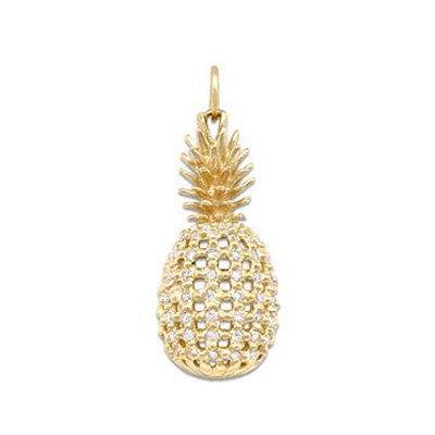 Maui Divers Jewelry Pineapple Pendant with Diamonds-14K Yellow Gold~Medium
