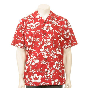 Classic Hibiscus Pareo Open Collar Aloha Shirt ~ Red